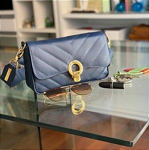 Bolsa de Couro Azul Marinho Elegance