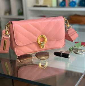 Bolsa de Couro Rosa Blush Elegance
