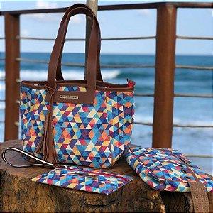 Kit Bolsa de praia em tela de estampa verão