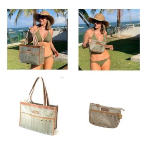Kit bolsa de praia em tela Bege mais nécessaire