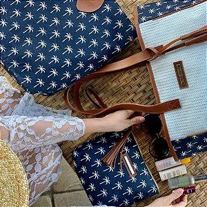 Kit Bolsa de praia em tela de estampa coqueiros