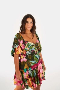 Vestido Farm Curto Pincelada De Flor