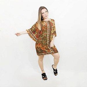 Vestido Farm Curto Manga Lenço Balina