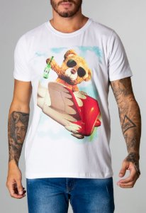 Camiseta Red Feather Teddy Flying Masculina Branca