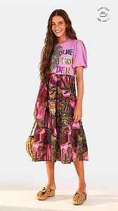 Vestido Farm Midi Silk Olhe para Dentro