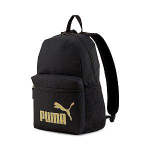Mochila Puma Phase Backpack Unissex Preto Dourado