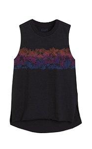 Camiseta Ellus Co Palms Giltter Sleevess Feminina