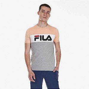 Camiseta Fila Letter Colors Laranja e Cinza Masculina