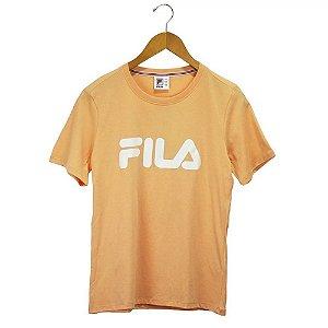 Camiseta Fila Manga Curta Basic Letter Feminina Laranja
