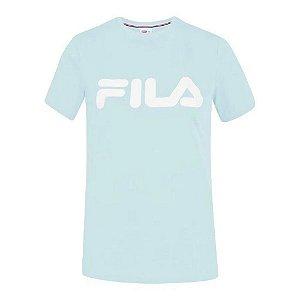 Camiseta Fila Manga Curta Basic Letter Feminina Azul