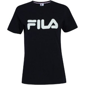 Camiseta Fila Manga Curta Basic Letter Feminina Preta