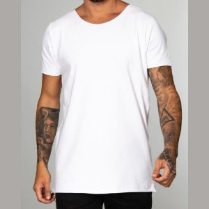 Camiseta Red Feather Básica Long Line Masculina Branca