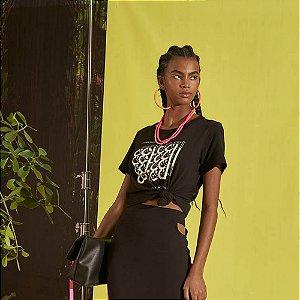 Camiseta Colcci Estampada Feminina Preta