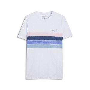 Camiseta Ellus Cotton FIne Ellus Bold Stripes Masc Branca
