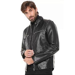 Jaqueta Ellus Leather Wash Rider Masculina Preta