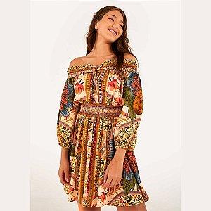 Vestido Farm Curto Flor de Abacaxi
