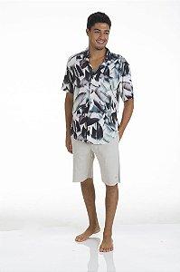 Camisa Folhagem Cinza Seal