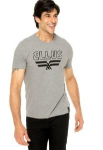 Camiseta Ellus Logo Cinza