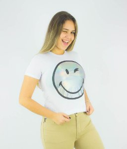 CAMISETA ELLUS SECOND FLOOR HOLOGRAPHIC SMILEY FEMININA