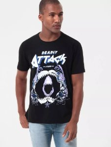 CAMISETA ELLUS 2ND FLOOR STONE DEADLY ATTACK PRETO