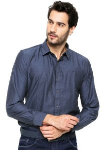 Camisa Ellus Wing Skin Classic Azul-marinho masculino