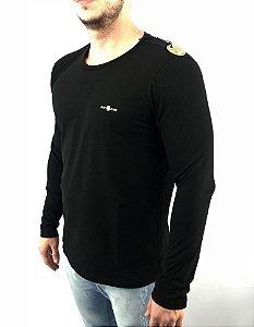 camiseta Ellus 2nd Floor MANGA LONGA FLAME ESF MASCULINA PRETA