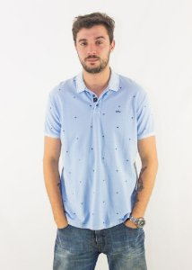 Camisa Polo Ellus Piquet Mini Print Savana Classic Masculina - azul