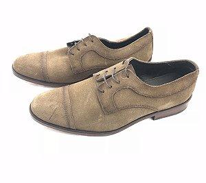 Sapato Social Monbram Dressy Couro Camurça Marrom Alto Luxo