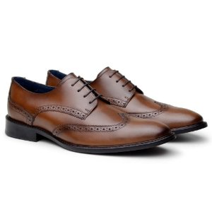 SAPATO MASCULINO BROGUE DERBY EDWARD DOM STORE WHISKY