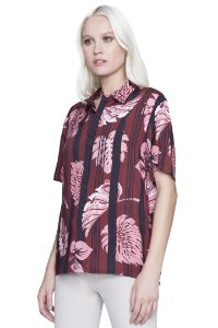 CAMISA ELLUS UNISSEX HAWAII MAXI LEAVES VERMELHA