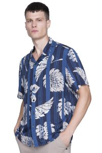 CAMISA ELLUS UNISSEX HAWAII MAXI LEAVES AZUL