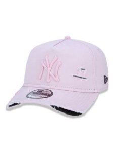BONÉ NEW ERA  ABA CURVA DESTROYED MLB NEW YORK PINK