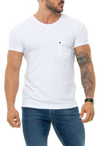 CAMISETA RED FEATHER POCKET REBITE MASCULINA BRANCA