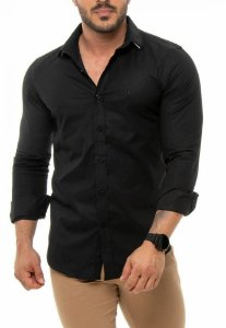 CAMISA RED FEATHER MASCULINA SLIM PRETO