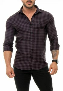 CAMISA RED FEATHER XADREZ MASCULINA ROXO E PRETO