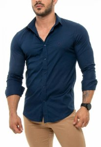 CAMISA RED FEATHER MASCULINA SLIM AZUL MARINHO