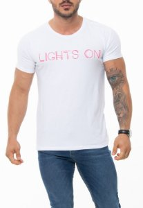 CAMISETA RED FEATHER LIGHTS ON BRANCA MASCULINA