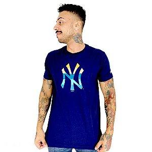 Camiseta New Era New York azul marinho laranja