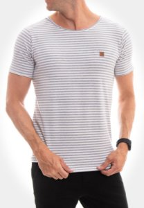 CAMISETA RED FEATHER CANOA A FIO MESCLA/BRANCO