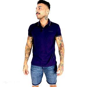 Camisa Polo Ellus Industry Frisos duplos Lilás masculina