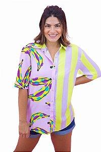 Camisa Farm Bananas Coloridas Lilas Unissex