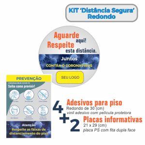 Adesivo de Piso e Placa Informativa – Mantenha Distância
