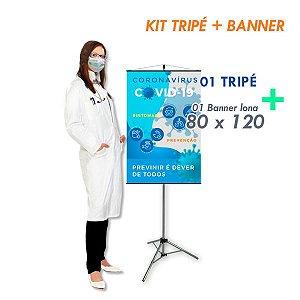 Kit Banner Informativo (80 x 120) + Tripé AL-20