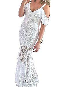 Vestido Branco Longo de Renda - Luíza