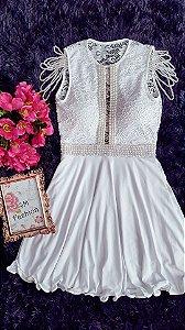 Vestido Branco Bordado de Pérolas - Samira