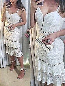 Vestido Branco Midi Renda Babados - Ana