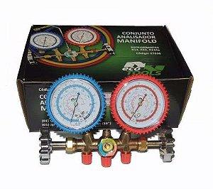 Manifold / Manômetro R22/R/12/R404 c/ Adaptador p/ R410
