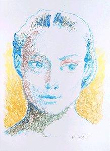 Giz Pastel - Mulher em Azul