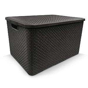 Caixa organizadora 40 litros rattan Arqplast - Preta
