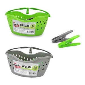 Kit cesta com 24 prendedores Max Clean - Clink